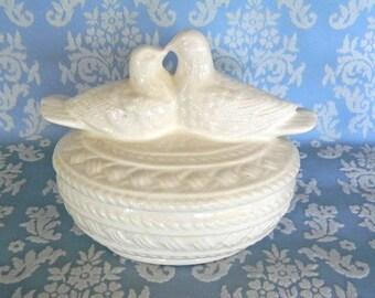 vintage white ceramic love birds bowl and lid