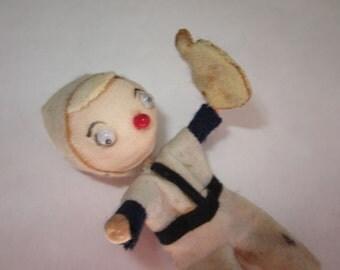 Tiny Vintage Spun Cotton Doll Baseball Boy