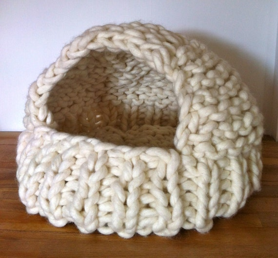 Knitting In Bed : Items similar to cat cave pod covered bed knitted