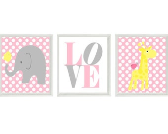 Nursery Art Elephant Giraffe Birds Polka Dot Baby Girl Nursery Prints -Yellow Pink Gray Wall Art  Love - Modern Nursery Decor