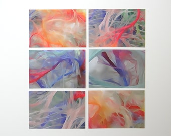 Abstract Art 4 x 6 Postcards, Photo Watercolor, Set Of Six, Glossy Finish On Front, Matte Finish On Back