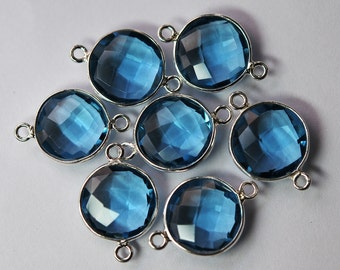 925 Sterling Silver,LONDON Blue Quartz Faceted Coins Shape Pendant Connector, 2 Piece of 19mm approx