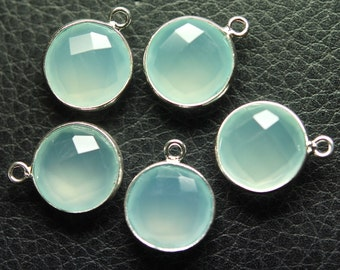 925 Sterling Silver AQUA Chalcedony Faceted Coins Shape Pendant,30 Piece of 16mm