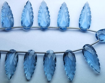 8 Inch Strand,Matched Pairs,London Blue Quartz Carving Faceted Pear Shape Briolettes,20x8mm