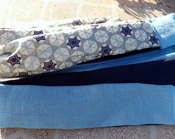 108 Little Star of David Long Head Band Scarf with Matching Linen Wrap Ties