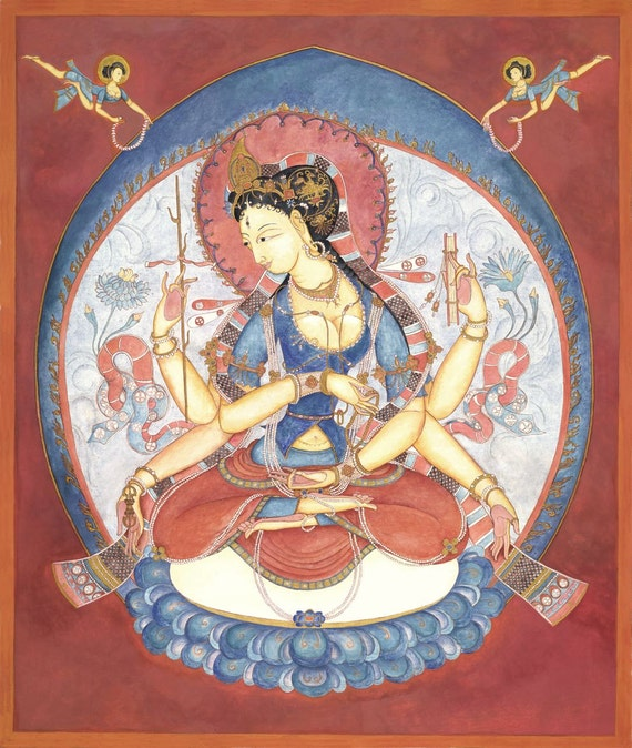 Prajnaparamita, Mother Goddess of the Past, Present, and Future, Dharma, Meditation, Wall art, buddhism, incense, spiritual art, Himalayan