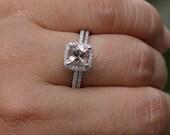 Cushion Morganite Engagement Ring and Diamond Wedding Band Bridal Set in 14k White Gold with Peach Pink Morganite Cushion 6mm
