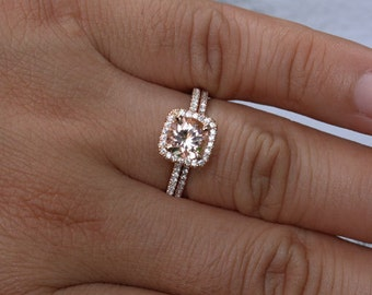 Rose Gold Morganite Wedding Set 14k Morganite Round 7mm and Diamonds Wedding Band (Also Available in 18k Gold)