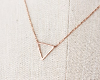 Rose gold Open triangle necklace // Rose gold Triangle Necklace // Geometric jewelry - Rose Gold