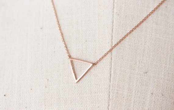 Open triangle necklace // Geometric jewelry - Rose Gold
