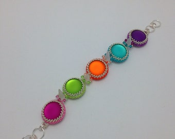 Multi colour cabochon and spike bracelet