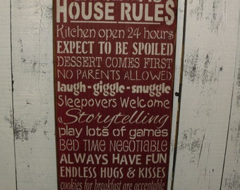 wooden sign, Grandma's House Rules, subway art, wall hanging, wall decor