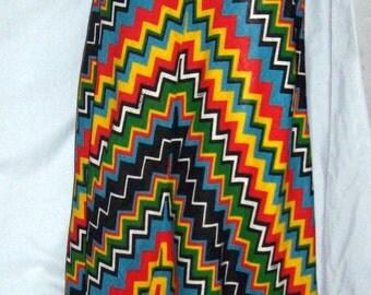 Vintage Maxi Skirt Saks Fifth Avenue Giorgini Signed Zig Zag Geometric 60s Small W24