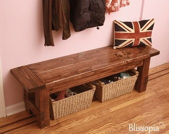 Farmhouse Bench, Wood Dining Bench, Entryway Bench