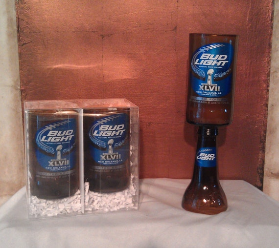 Super Bowl XLVII Bud Light Beer Bottle Candle and drinking glass set