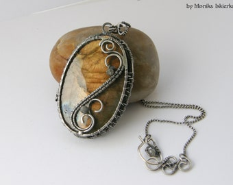 Brit- wire wrapped pendant, 2 side, labradorite, sterling and fine silver, handmade