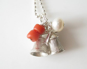 Antique English Bell Charm Natural Red Coral, Fresh Water Pearl on Sterling Silver Necklace Ball Chain, Christmas Jewelry, Antique Jewelry