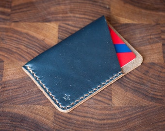 The Minimalist: micro card wallet, hand stitched Horween leather - navy chromexcel