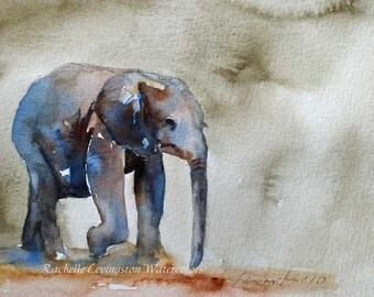 Watercolor painting elephant painting nursery art Print elephant art PRINT elephant PRINT baby elephant Wall hanging elephant artwork 8x10