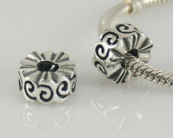 SCROLL SPACER .925 Sterling Silver European Charm Bead