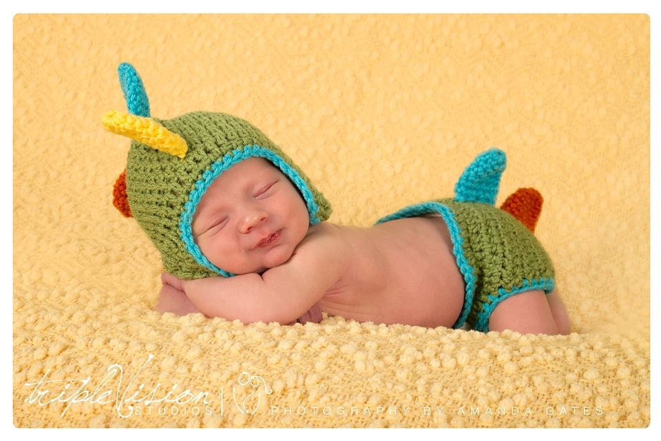 Crochet Dinosaur Hat And Diaper Cover Pattern : Baby boy crochet DINO hat and diaper cover. Dinosaur hat and