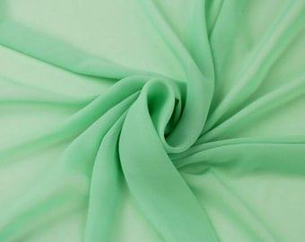 Green Meron Solid Hi-Multi Chiffon Fabric by the Yard, Chiffon Fabric, Wedding Chiffon, Lightweight Chiffon Fabric - Style 500