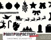 Christmas silhouettes clipart INSTANT DOWNLOAD