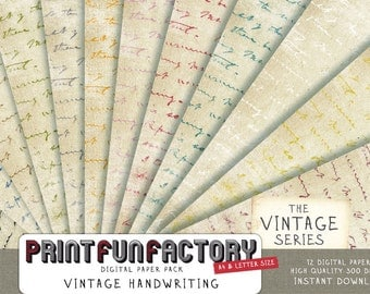 Handwriting digital paper - Vintage writing text on old distressed paper - 12 digital papers (078) INSTANT DOWNLOAD