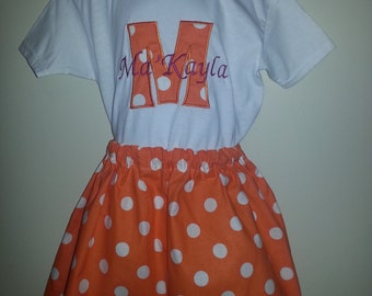 Orange & White Polka Dot Skirt Outfit