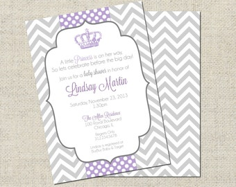 Little Princess Baby Shower Invitation, Printable Princess Invitation, Baby Shower