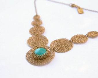 Ocean Necklace- Crochet Turquoise & Gold filled 14K. Lightweight Jewelry, Statement Necklace, Unique jewelry, Semi precious,ethnic Jewelry
