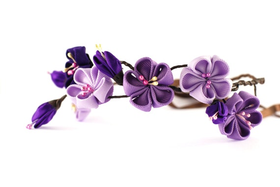 Items similar to Lilac flower crown in Kanzashi style ...