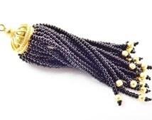 Long Black Beaded Tassel - 22k Matte Gold Plated Brass - 1PC