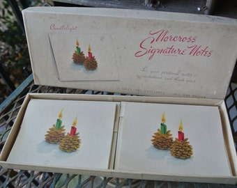 Vintage Set of 12 Never Used Christmas/Holiday Cards, Candlelight Design