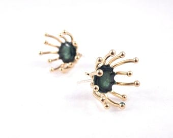 forest green studs green gold earrings for women everyday earrings minimalist jewelry statement artisan jewelry nature inspired