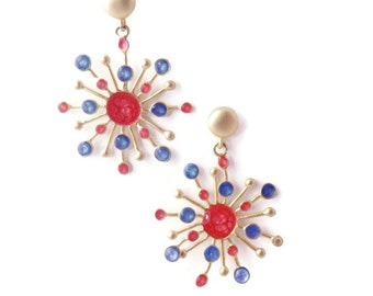 Xmas Presents Ideas,Red Dangle Earrings for Women,Blue Gold Dangles, Bright Jewelry,Statement Earrings,Gold Red Earrings,Christmas Gift Help