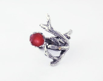 red twig ring silver branch ring silver tree ring red wood ring tree branch jewelry nature inspired statement artisan jewelry
