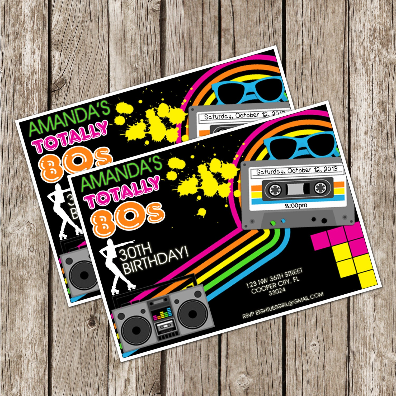Totally Eighties Retro Party Invite 80s Birthday Party