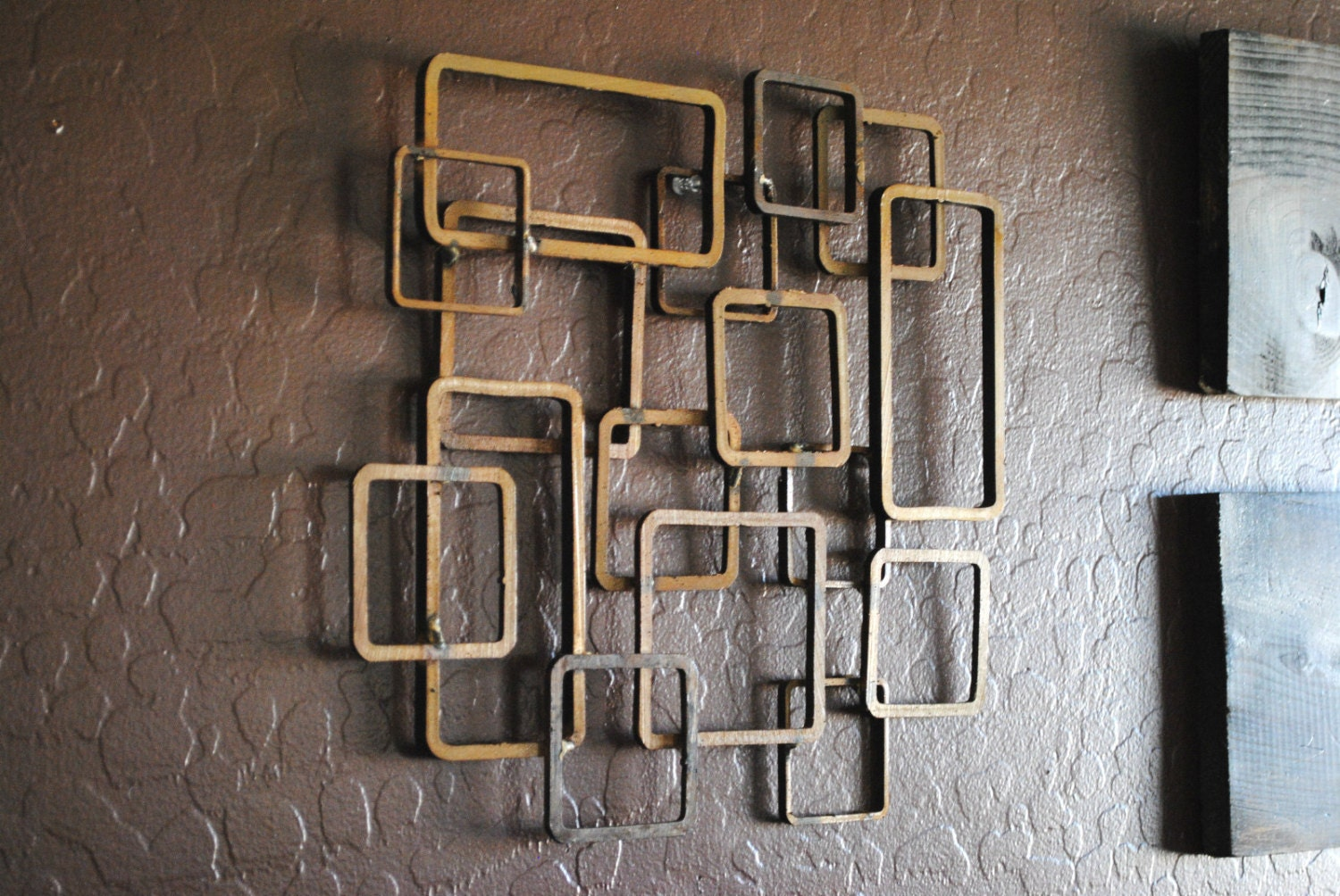 Retro modern metal sculpture art abstract mid century for Contemporary wall art