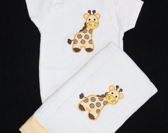 Giraffe Bodysuit and Burp cloth set