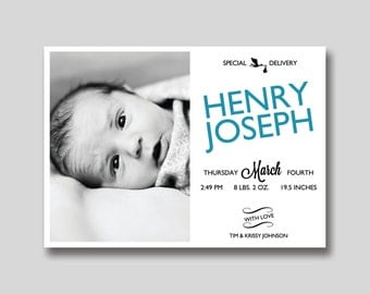 Special Delivery Birth Announcement with Photo - Printable