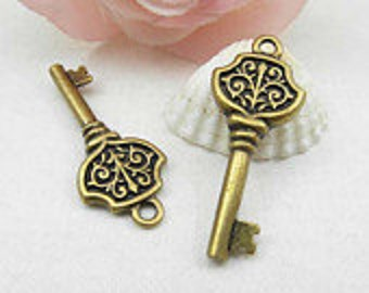 10pcs Antique Brass Key Charm Pendant - Key Charm Connector