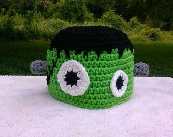 Crochet Frankenstein Hat, Boy Girl Toddler Kids Adults, Sizes from Newborn to Adult, Halloween Costume, Baby Shower Idea, Photography prop