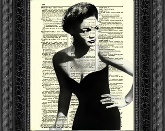 Eartha Kitt Print on Antique Dictionary Page, Eartha Kitt Art, Catwoman Art Print