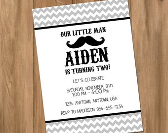 Customized Mustache and Chevron Birthday Party Invitation - Choose Your Own Colors (Digital - DIY)