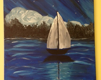 Sailboat Painting with Acrylic Paint on stretched canvas