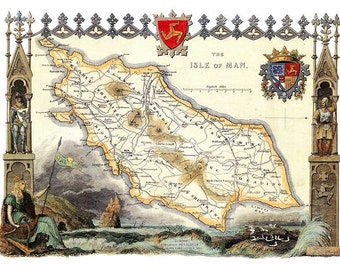 Isle of Man 1841 - Antique English Map of the Isle of Man - 8 x 10 ins PRINT - FREE P&P UK