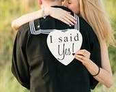 Shabby Chic I said Yes Save the Date Heart Signs Photography Props Enagement Pictures Rustic Wood Wedding Dog Ring Bearer Flower Girl