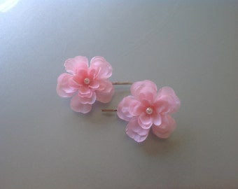 20% OFF SALE - Sakura Pink Cherry Blossoms flower hair clips: Casual - Picnic/Outing - Wedding - Party - Bridesmaids - Flower Girls