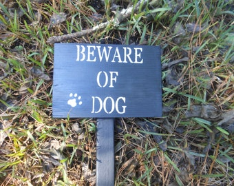 Beware Of Dog Sign With Stake